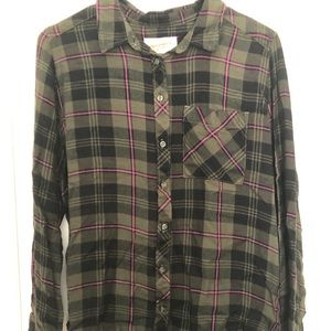 Super comfy flannel! Hunter Green with Pink Accent